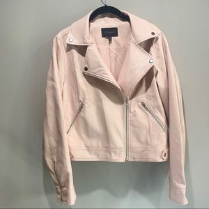Blush pink faux leather moto jacket